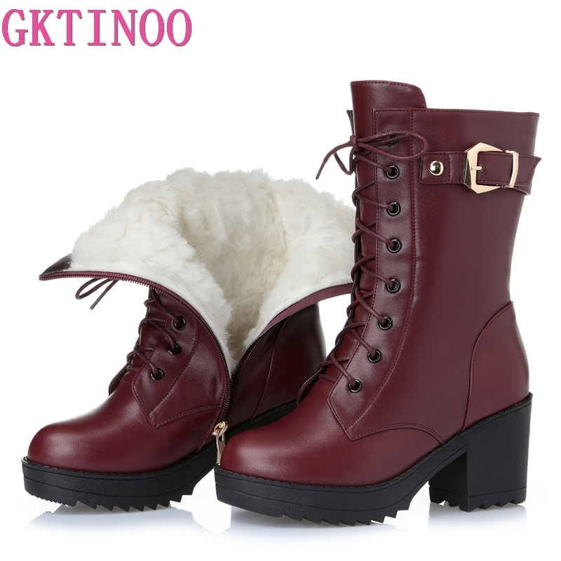GKTINOO High-heeled genuine leather women winter boots thick wool warm women Martin boots high-quality female snow boots 2016women s genuine leather boots high heeled winter boots designer wool lining motorcycle boots thick snowshoe free shipping