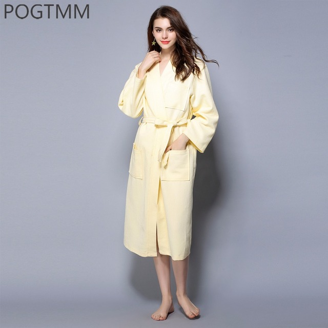 Kimono Cotton Robe Sexy Bridesmaid Waffle Long Bathrobe Women Solid Belted  Dressing Gown Bathroom Spa Hotel Large Sleep Clothes faac0caf7