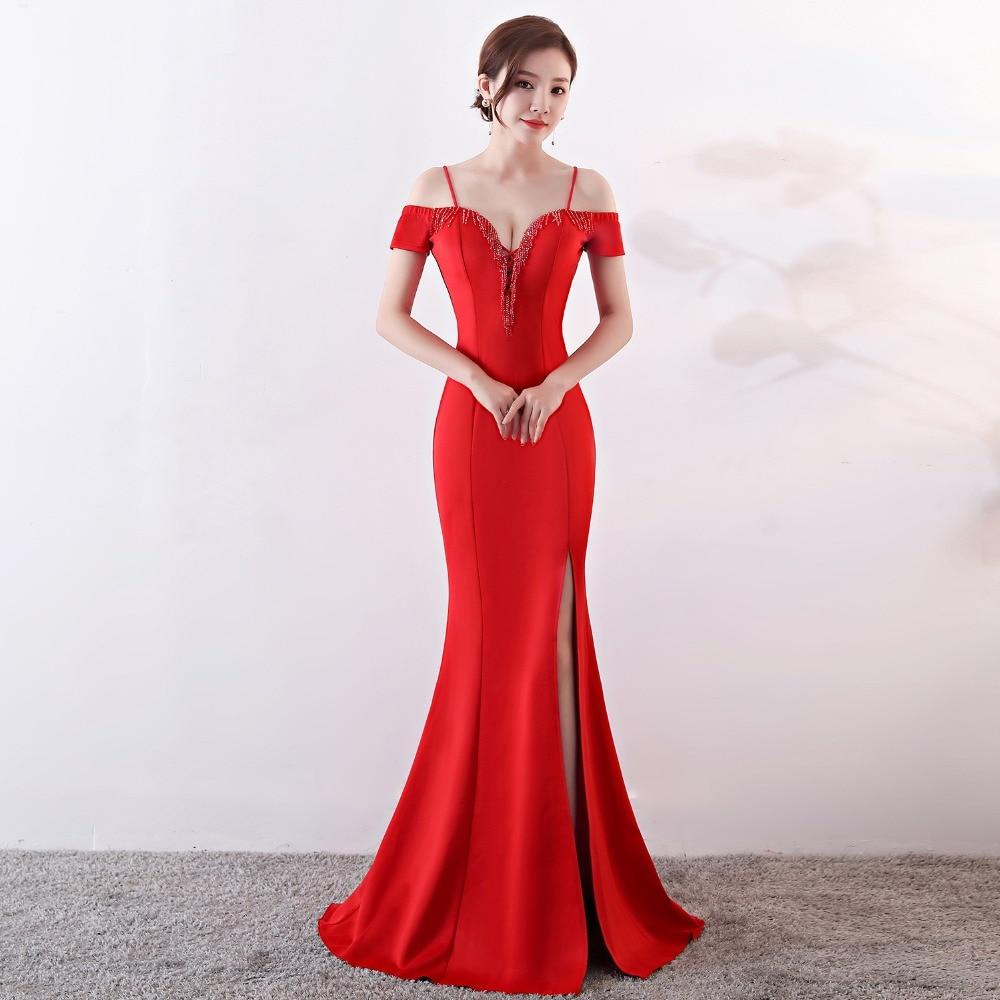Sladuo Women Bridal Red Cotton V Neck Cross Off Shoulder Sexy Sleveless Bodycon Club Dress Celebrity Party Dress