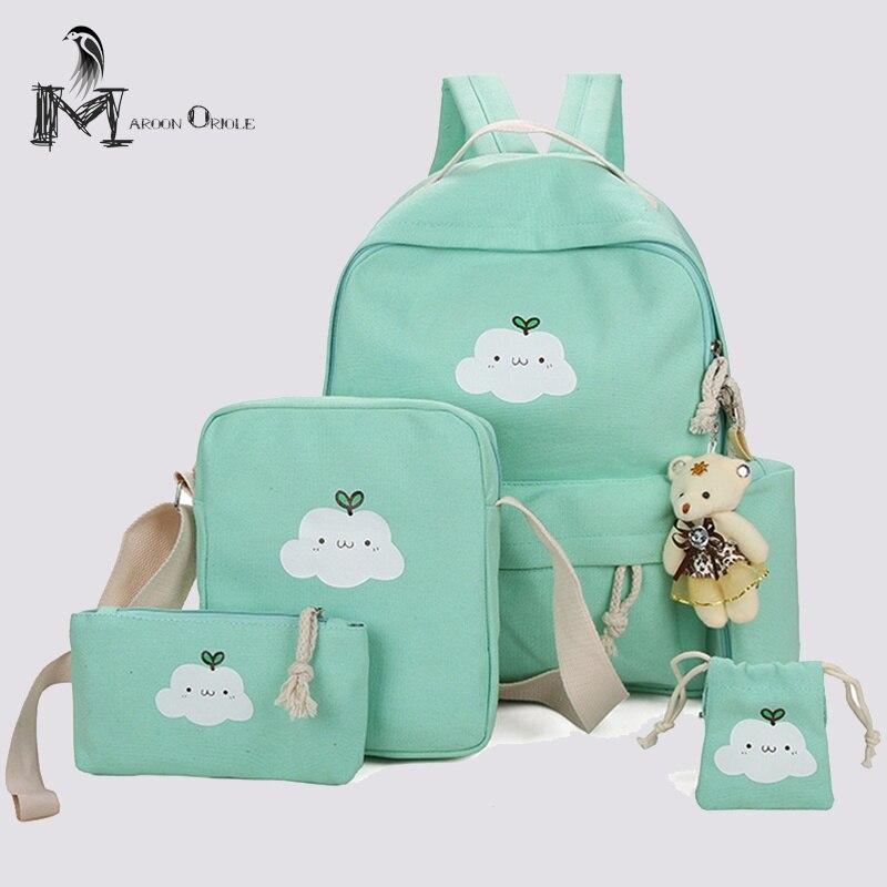 Школьные сумки для младших девочек Дети Рюкзак Набор 4 шт. холст школьная сумка для детей и девочек крепкий школы рюкзак 5