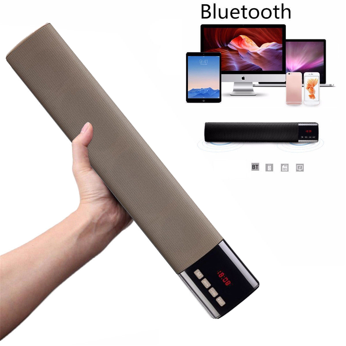 Top Angebote <font><b>Bluetooth</b></font> Wireless 3D Soundbar Sound Bar Theater HiFi Lautsprecher System Subwoofer Blau/Silve/Blau/Gold image