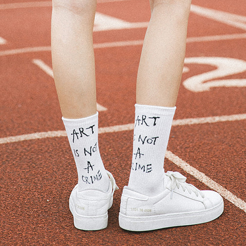Fetoo Korean Harajuku Street Style Letter   Socks   School Ladies Hip Hop Female ART IS NOT A CRIME   Socks   Women Funny   Socks