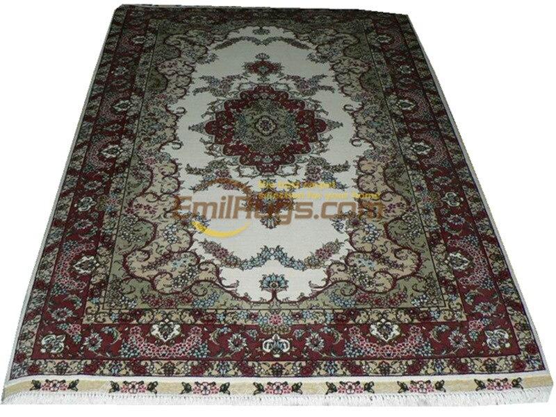 Tapis persan en soie tapis orientaux tapis tissés à la main pour salon Patterngc117psilkyg28 - 3