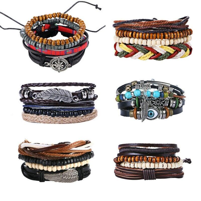 Woman Wooden Beads Beaded Bracelets for Women Leather Bracelet & Bangles Men Hand Handcuffs Jewelry 2017 Kuniu New Design Wings
