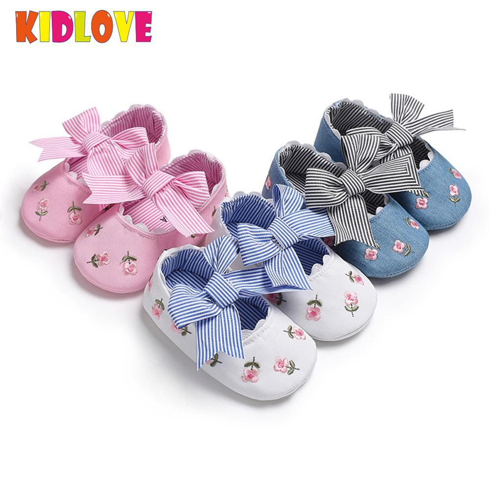 KIDLOVE Big Bow Baby Girls Embroidery Shoes Cotton Cloth Soft Sole Non-slip Bowknot Shoes Newborn Crib Toddler Shoes