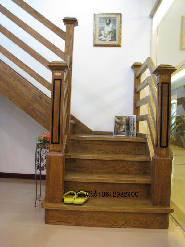 All Solid Wood Staircase Handrail Pedal Antique Wrought Iron
