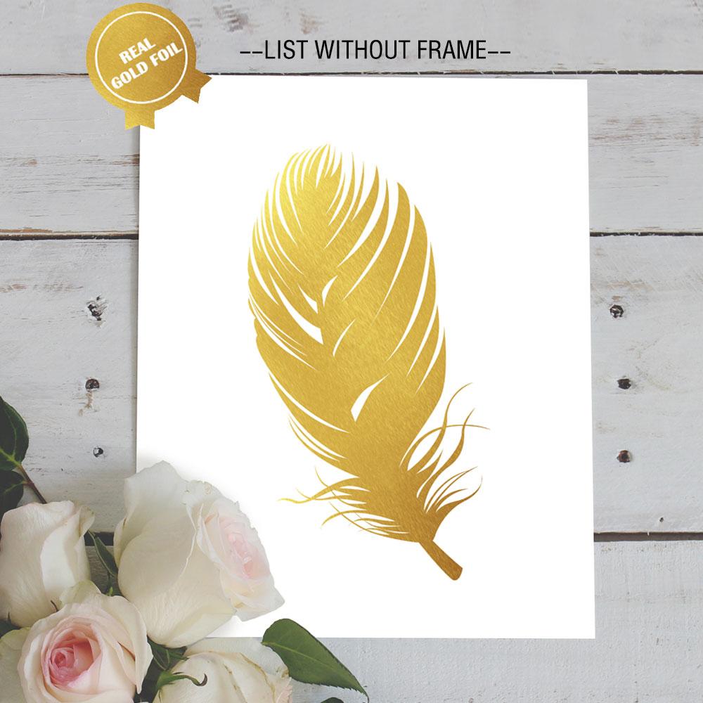 Beautiful Feathers Gold Foil Art Paper Modren Wall Art for Golden ...