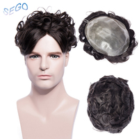SEGO 6 inch 8''*10'' Silicon Base Durable Thin Skin Men Toupee Pure Color Human Hair System Non remy Hair Indian Hair1piece 77g