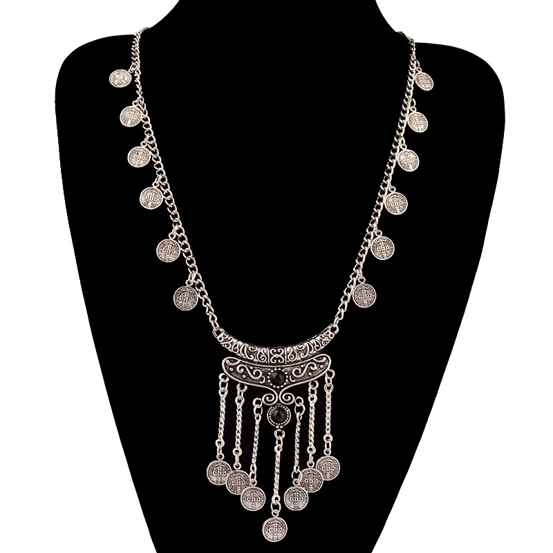 HTB1lSoqKpXXXXaUaXXXq6xXFXXX7 Long Bohemian Antique Silver Coins and Tassels Necklace For Women