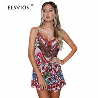 ELSVIOS Summer V Neck Spaghetti Strap Playsuits Floral Printed Women Rompers Sexy Backless Casual Beach Overalls