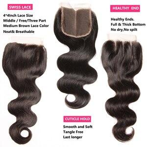 Image 5 - Nadula שיער ברזילאי גוף גל חבילות עם סגירת 4*4 סגירת תחרה ברזילאי שיער Weave חבילות עם סגירת שחור שישי