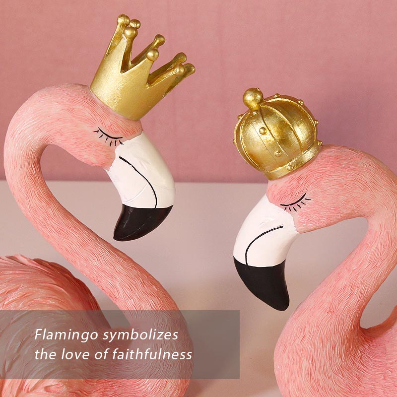 Creative Resin Pink Flamingo Figurines Ornaments Couple King