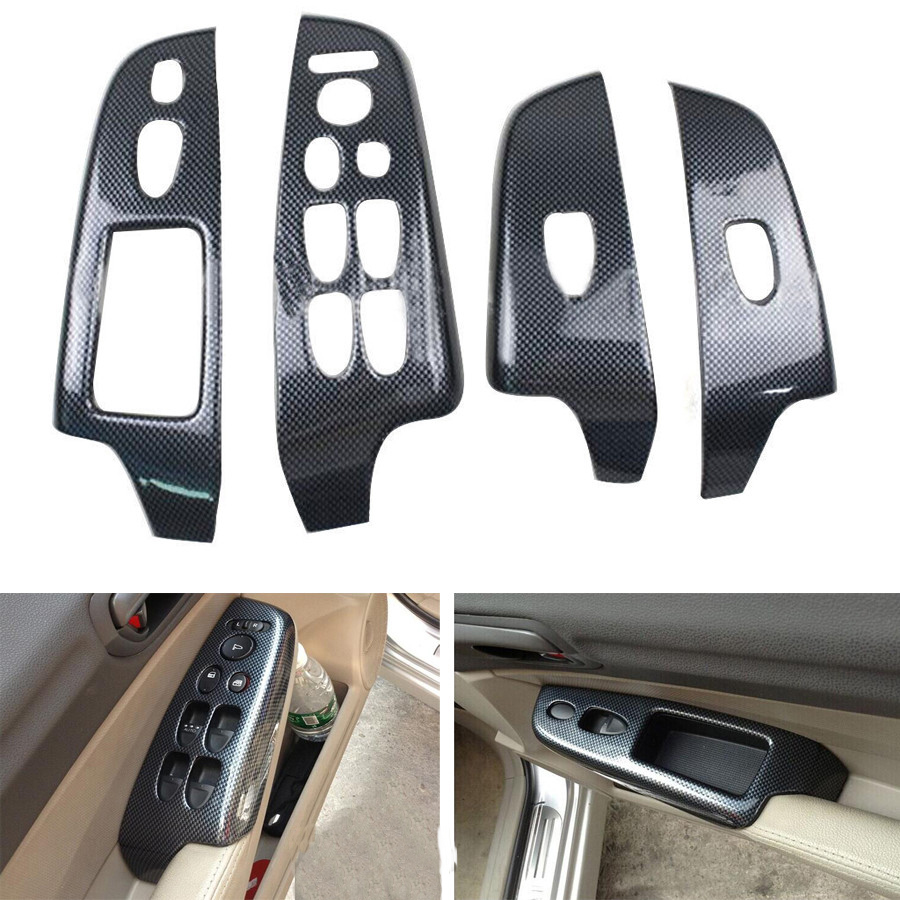 YAQUICKA 4Pcs/set Car Interior Armrest Window Lift Switch Button Panel Cover Trim Bezel For Honda Civic 8th Gen 2006-2011 ABS car carbon fiber color abs interior mouldings inner gear shift covers panel trim decal for honda civic 2006 2011 mt car styling