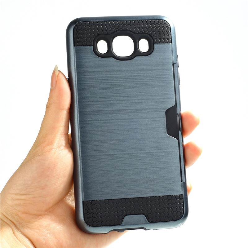 official photos 4214c a830b US $2.84 5% OFF|For Samsung J7 2016 Case Brushed Armor Soft Silicone +  Plastic Case with Card Slot for Samsung J3 J5 J7 2016 Case Cover Capa-in  Fitted ...