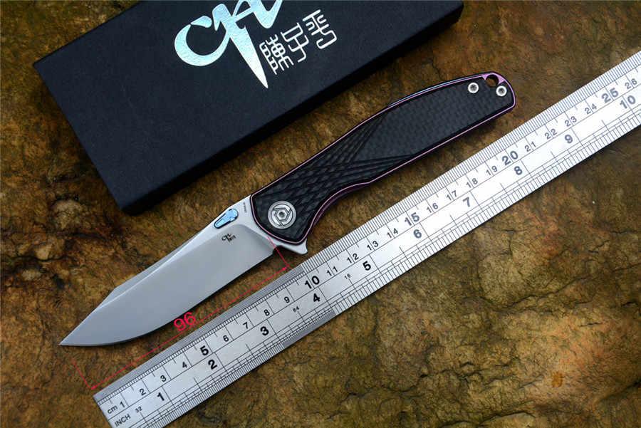 CH 3516 الأصلي زعنفة للطي سكين S35VN شفرة التيتانيوم الكربون الألياف مقبض مع الجيب كليب التخييم الصيد سكين EDC أدوات
