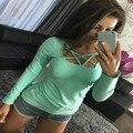 Señoras de Moda Lace Up Mujeres de la Camiseta de Manga Larga de la Correa de Espagueti Vendaje delgado Tops Camisetas Camisetas Del color Del Caramelo Sexy camisetas