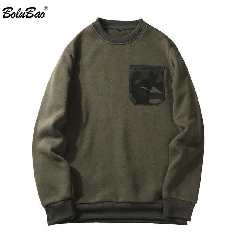 BOLUBAO 2018 Mens Hoodies Fashion Camouflage Pocket O-Neck Sweatshirt Men Casual Warm Patchwork Hoodies Sweatshirts