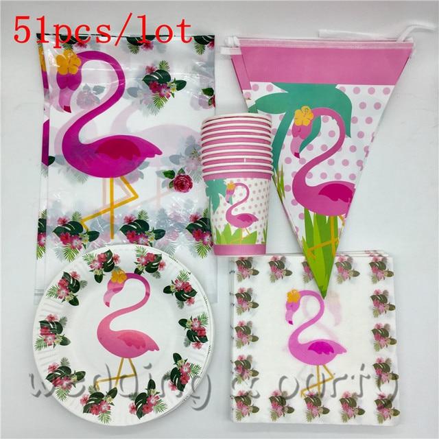 51 pçs lote Flamingo Animal Tema da Festa de Aniversário das Crianças  Trolls Bandeiras Decorativas fc3f74e8a1a4c