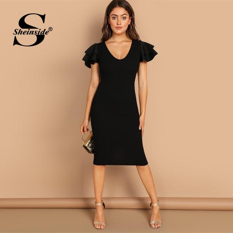 76bd3861d2 Sheinside Black Flounce Sleeve Party Dress Women Summer Solid Scoop Neck  Midi Dresses Layered Sleeve Elegant