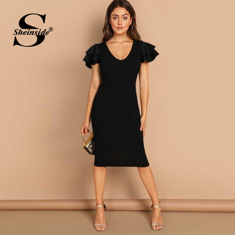 44dfe44cf58 Sheinside Black Flounce Sleeve Party Dress Women Summer Solid Scoop Neck  Midi Dresses Layered Sleeve Elegant