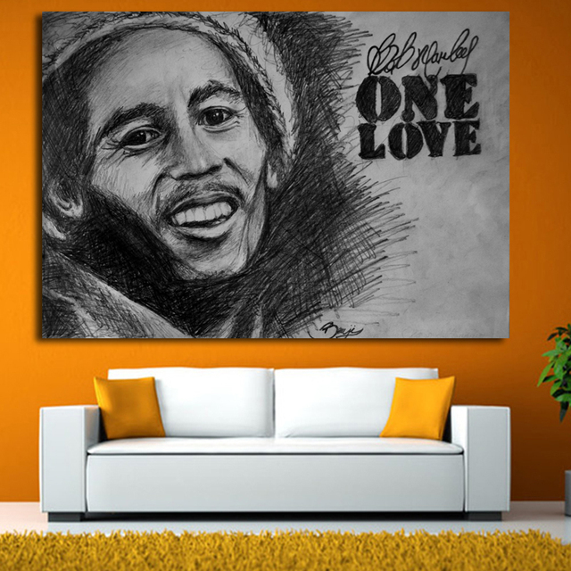 Large size Printing Oil Painting bob marley black Wall painting ...