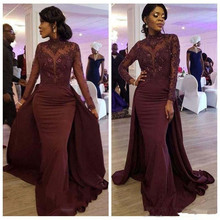 Elegant Burgundy Mermaid Evening Dress with over skirts high neck Long Sleeves Prom Dresses Appliqued Beaded Long robe de soiree burgundy crew neck drawstring waist long sleeves tracksuit