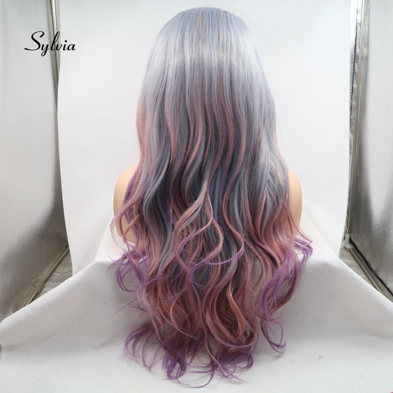 Sylvia Smoke Grey Color Ombre Purple Synthetic Hair Wigs Lace Front Wigs Heat Resistant Fiber Soft Hair Side Part For Women