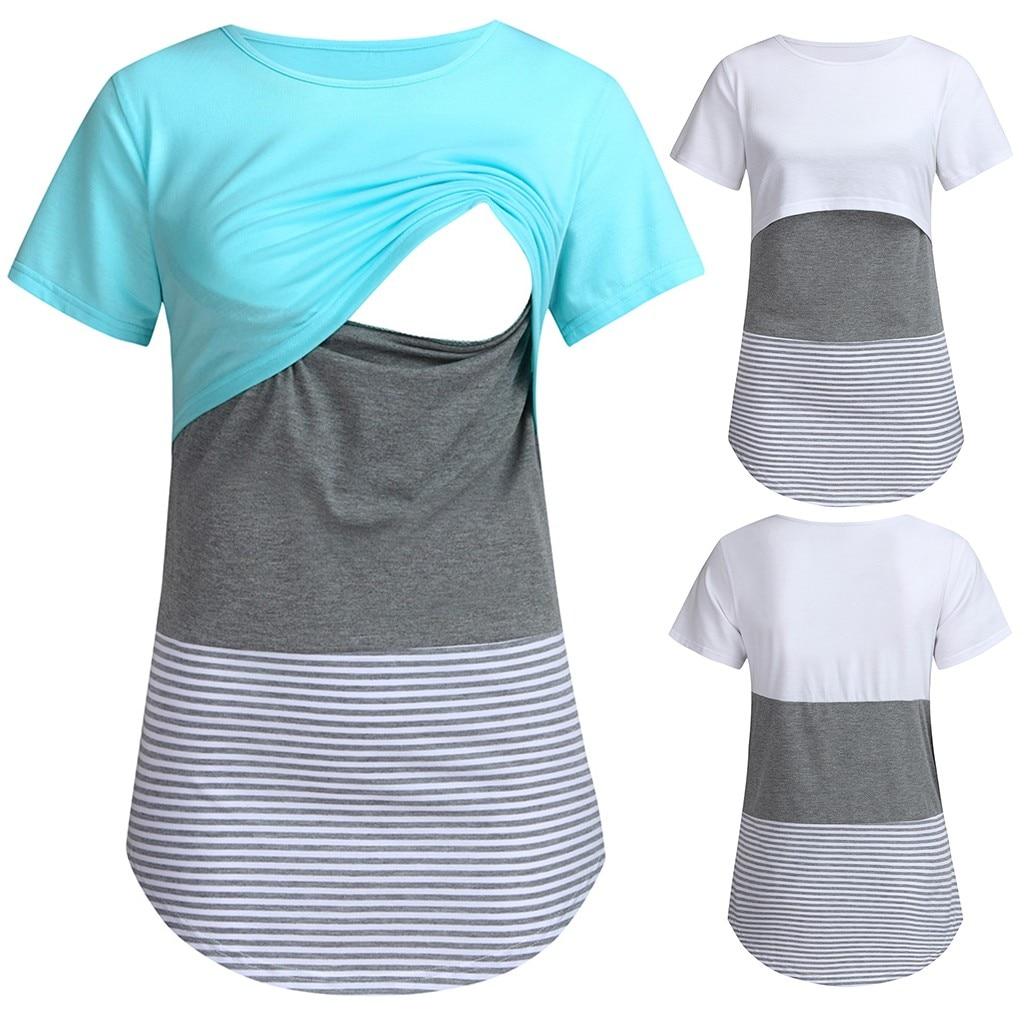 Women Summer Pregnant Clothes Short Sleeve Striped Maternity Breastfeeding Tee Tops Ladies Cotton Splicing Nursing Baby T-shirt