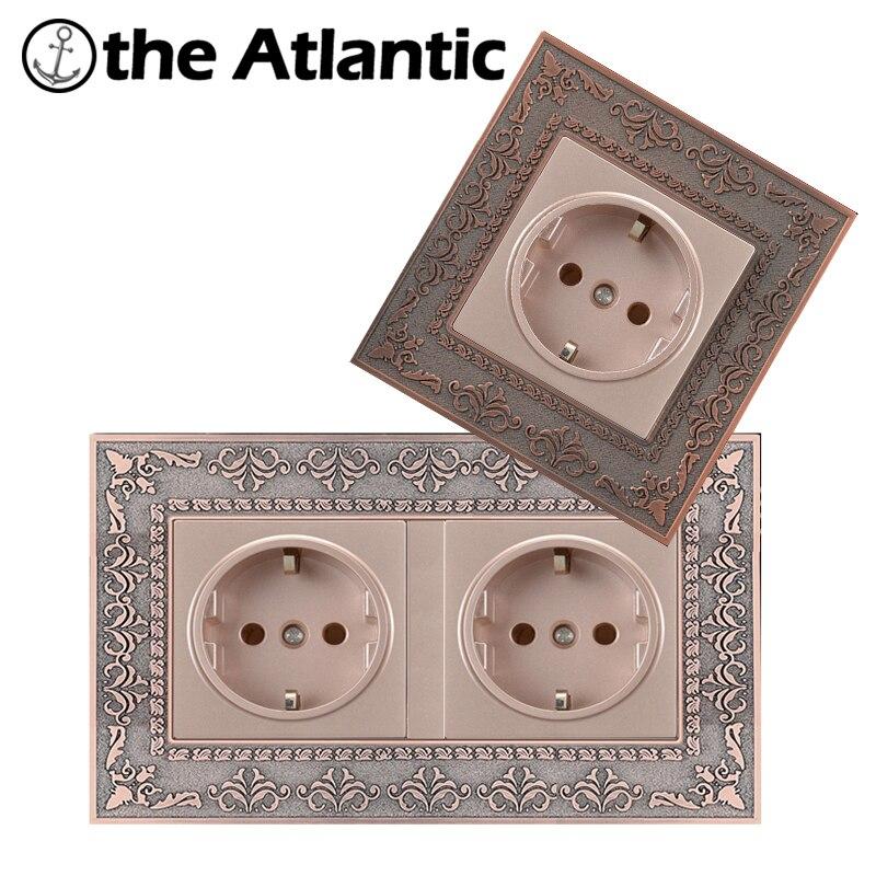 Atlantic Presa Standard UE 4D Intaglio Goffratura Pannello di AC 110 ~ 250 V 16A Della Parete Presa Di Alimentazione Presa ElettricaAtlantic Presa Standard UE 4D Intaglio Goffratura Pannello di AC 110 ~ 250 V 16A Della Parete Presa Di Alimentazione Presa Elettrica