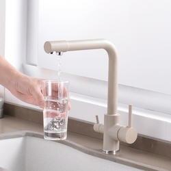 360 градусов вращения латунь питьевой фильтрованной воды кухня кран изгиб и двойной правый угол кухонный смеситель коснитесь