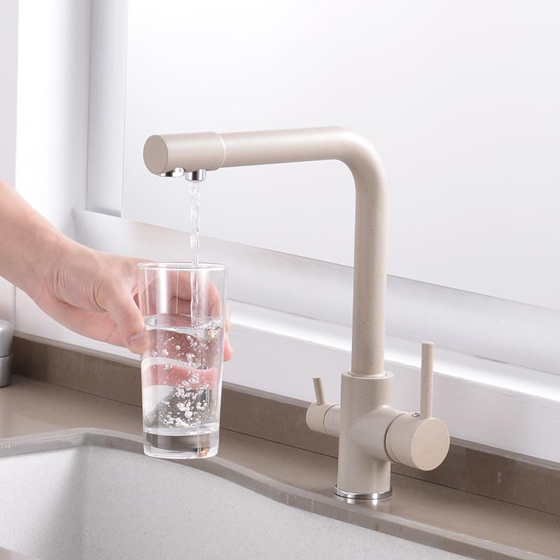 360 градусов вращения латунь питьевой фильтрованной воды кухонный кран изгиб и двойной правый угол и правый угол кран Кухня Раковина кран