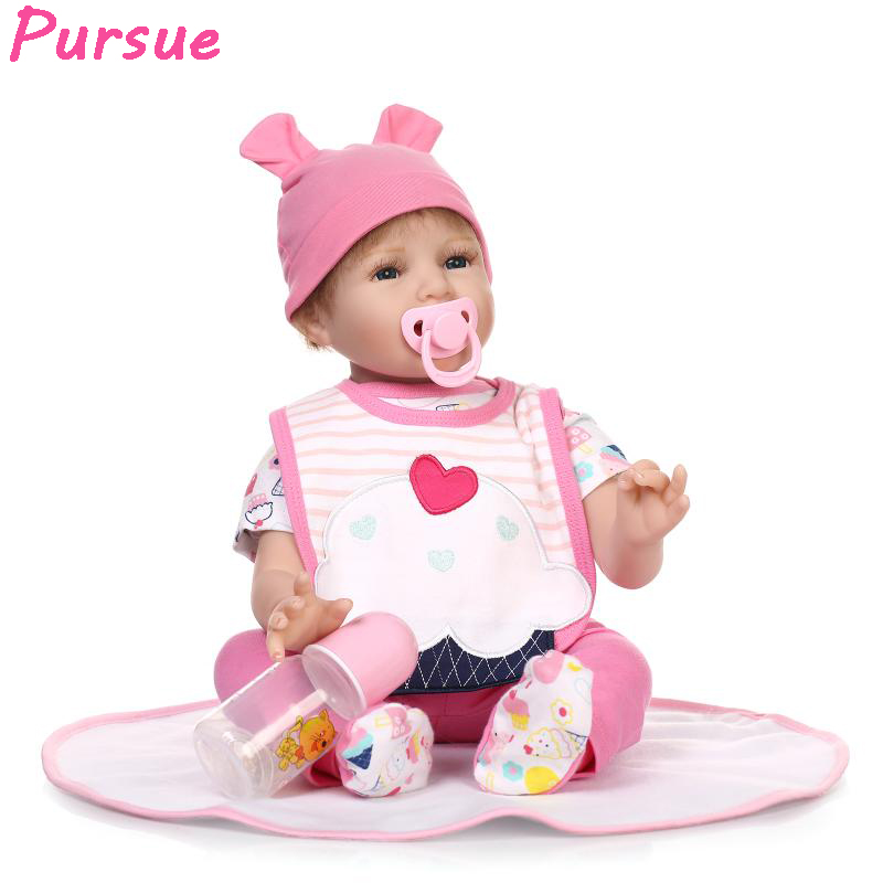 цена на Pursue Bebes Reborn 55 cm American Girl Doll Silicone Reborn Babies Dolls for Girls Boys Mini Baby Doll boneca reborn silicone