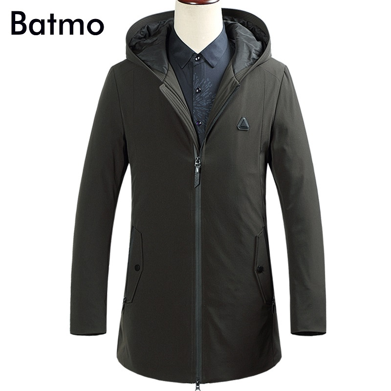 Batmo 2017 new arrival winter high quality 90% white duck down business hooded jacket men,winter warm coat men 87613
