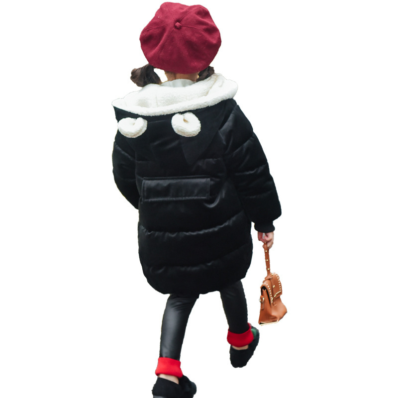Thicken in the long paragraph down cotton padded 2018 girls jacket new Korean female baby winter coat children's coat MF-28 winter jacket female parkas hooded fur collar long down cotton jacket thicken warm cotton padded women coat plus size 3xl k450