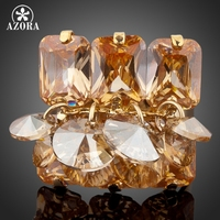 18K Real Gold Plated Gold SWA ELEMENTS Austrian Crystal Adjustable Size Ring FREE SHIPPING Azora TR0049