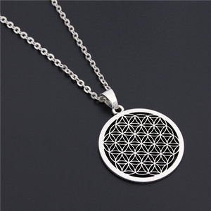 1PC Flower of Life Buddhist Necklace Long Chain Seed of Life Sacred Geometry Jewelry Fleur De Vie Yoga Namaste Necklace(China)