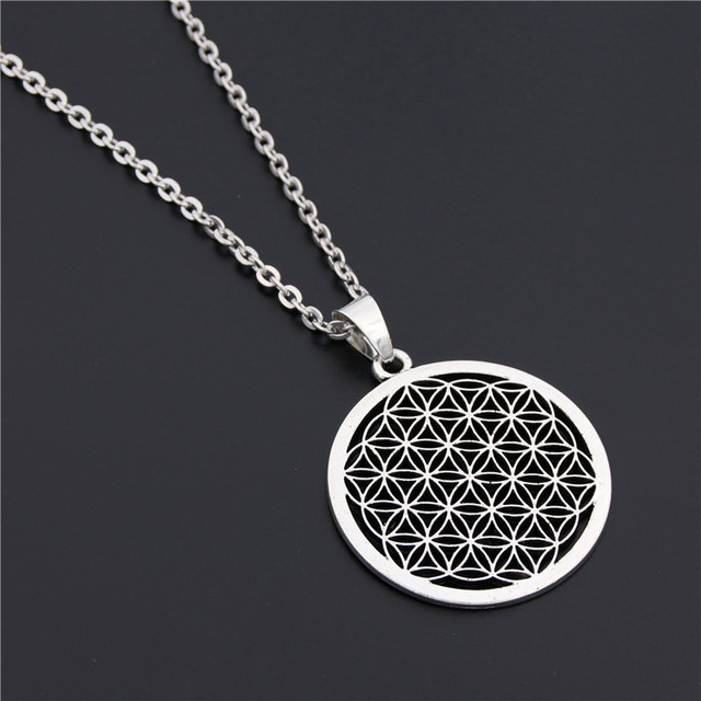 US $0 99 29% OFF|1PC Flower of Life Buddhist Necklace Long Chain Seed of  Life Sacred Geometry Jewelry Fleur De Vie Yoga Namaste Necklace-in Pendant