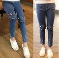 В розницу новый кот шаблон дети джинсы мода девочка джинсы милые высокое качество детей брюки красивые свободного покроя девушки джинсы