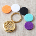 Free Pads, 30mm Tree of Life Gold Plated 316L Stainless Steel Screw Aromatherapy Essential Oils Diffuser Keychains
