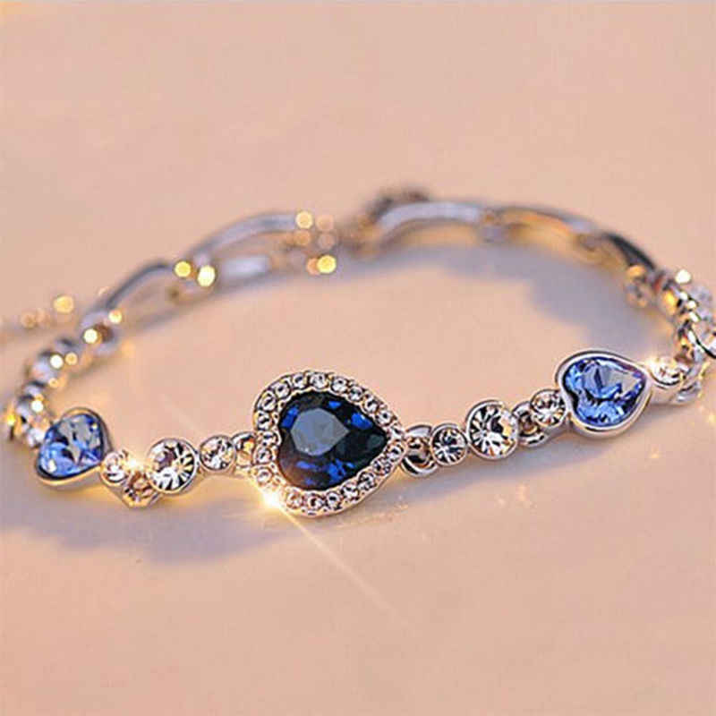 1 pc fashion Heart Bangle Bracelet Gift New Fashion Women Ocean Blue Crystal Rhinestone fine jewelry New