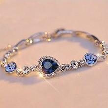 Blue Bracelet Chain Bangle-Ocean Heart Jewelry Gifts Crystal Rhinestone Womens Ladies
