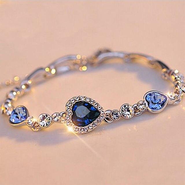 1 pc אופנה לב צמיד צמיד מתנה חדשה האופנה הנשים אוקיינוס הכחול קריסטל ריינסטון תכשיטים ניו