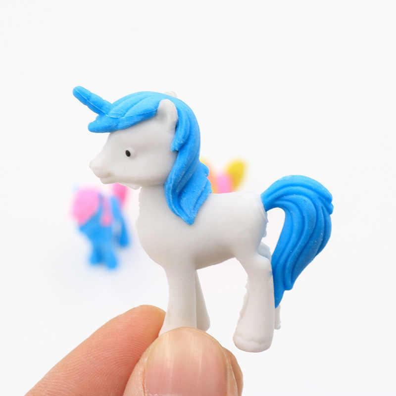 3 шт. милый единорог лошадь резиновый ластик мультфильм животных кавайные канцелярские школьные принадлежности Papelaria подарок для детей
