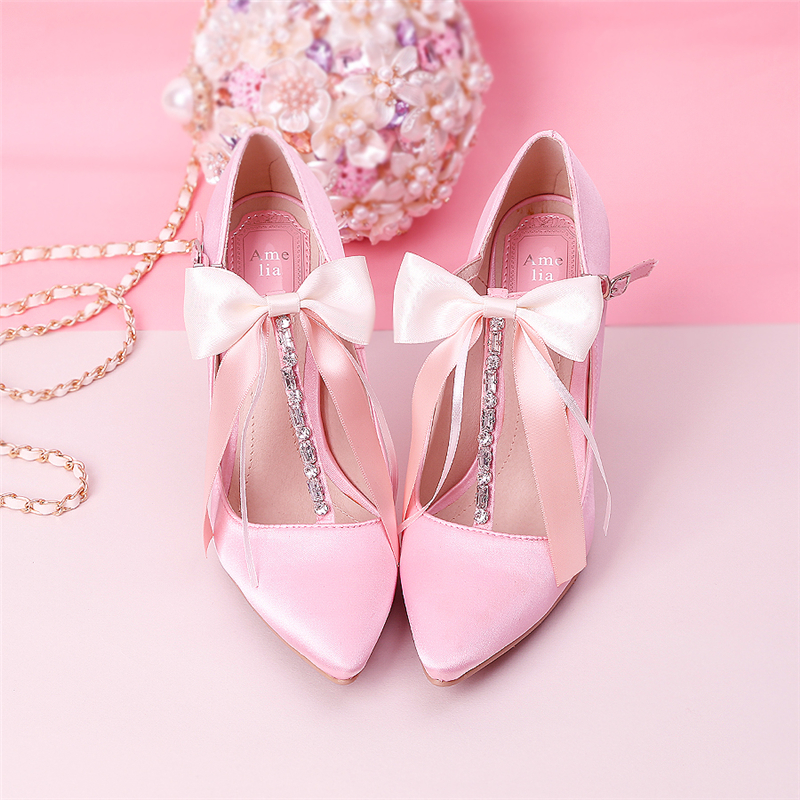 e32b81238f9 9cm High Heels Women Pumps Wedding Shoes Crystal Stiletto Pink T-Strap  Bridal Pricess Party