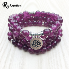 Ruberthen 2017 Fashion Claret Stone Bracelet High Quality Women s Yogi Necklace 4 Wrap Meditation Jewelry