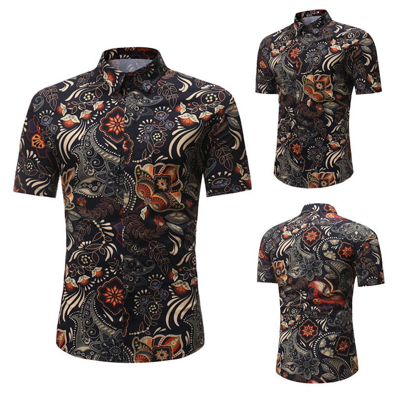 Summer Men Short Sleeve Shirt Floral Printed Stand Collar Casual Shirts M-3XL -MX8