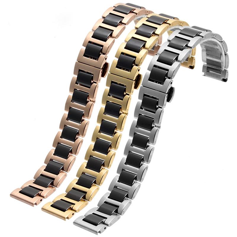 Prix pour Nouveau arrivé bracelet D'or en acier inoxydable avec céramique montre bracelet 14mm 16mm 18mm 20mm 22mm hommes femmes mode bracelets
