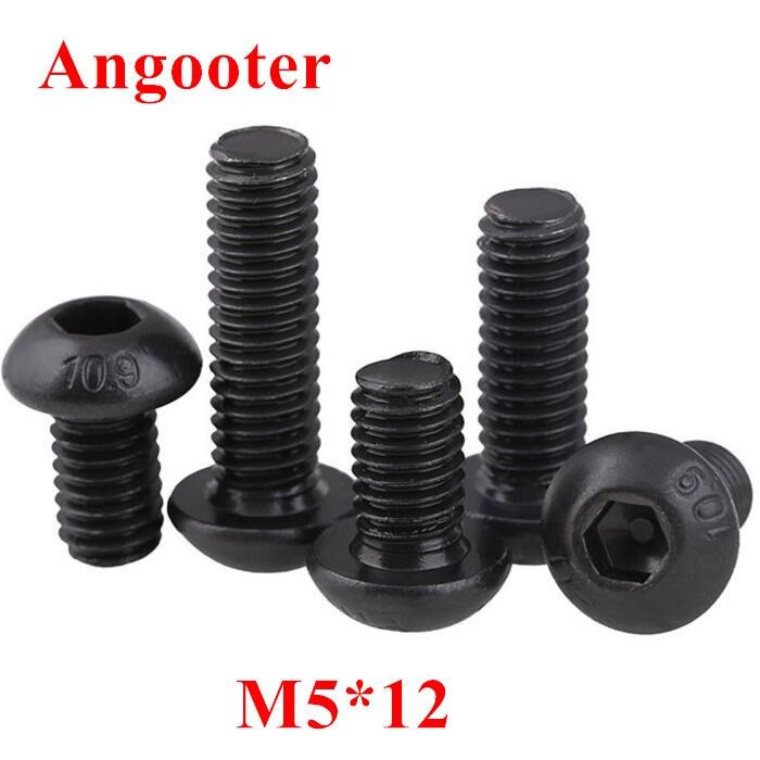 10 pièces joint de culasse vis m5x12mm Acier Filetage 10.9 Noir DIN 912