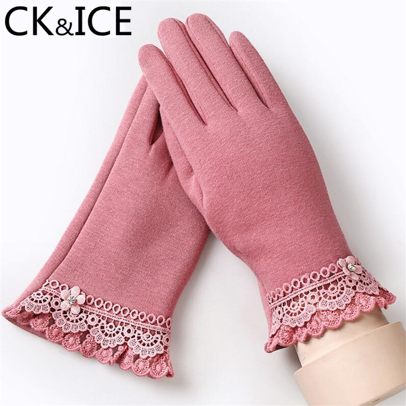 CK&ICE Fashion Winter Female Glove Warm Wrist Mittens Embroidery Lace Pearl Flower Knit Decoration Women Cotton Gloves Mittens