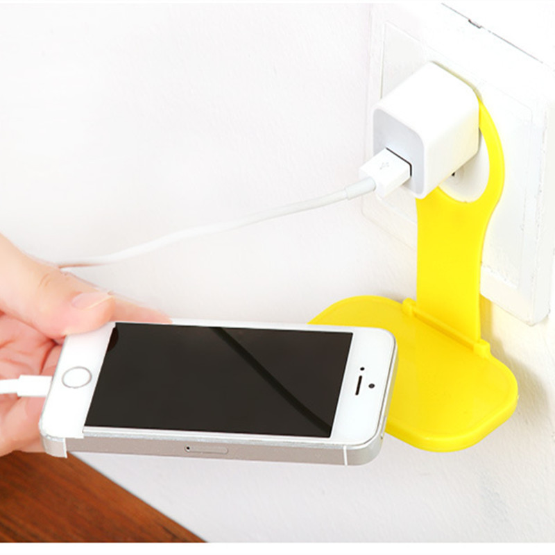 Mobile Phone Wall Charger Adapter Charging Holder Hanging Stand Bracket Support Charge Hanger Rack Shelf Cell Phone hook Shelf mobile phone